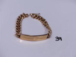 1 bracelet en or identité gravée (L18cm). PB 81g