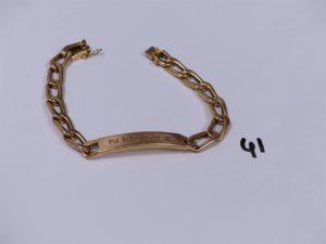 1 bracelet gourmette en or identité gravée (L20cm). PB 18,9g