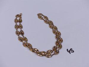 1 chaine maille grain de café en or (ma illons creux,cabossés)(L48cm). PB 8,3g