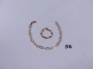 1 bracelet maille alternée en alliage 9K (L19cm) et 1 créole ouvragée en alliage 9K. PB 2,2g