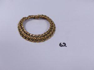 1 bracelet maille festonnée en or (L20cm). PB 20,2g