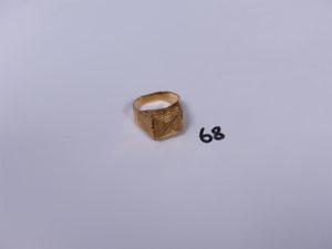 1 chevalière en or initiales gravées (Td65). PB 8,5g