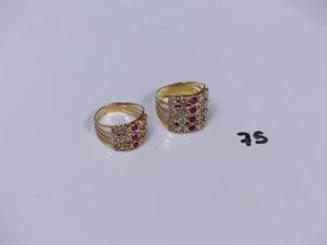 2 bagues en or ornées de petites pierresblanches et rouges (Td54/56). PB 8,4g