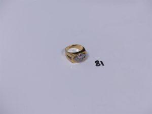 1 bague en or ornée de pierres (Td57, 1 chaton vide). PB 6,9g