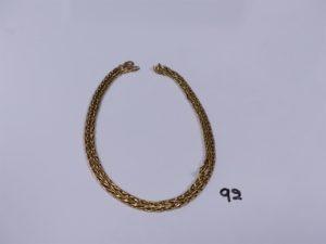 1 chaîne maille palmier en or (abîmée, L61cm). PB 15,7g