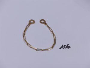 1 bracelet maille alternée en or fermoir menottes (L18cm). PB 7,4g