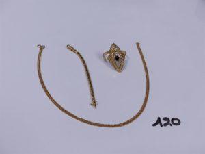 1 Lot casse en or (1 pièce avec 3 petites pierres). PB 6,4g