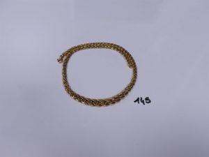 1 Collier maille festonnée en or (à redresser, L45cm). PB 21,7g