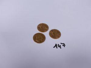 3 Pièces en or (1 de 20Frs NAPIII, A1868)(2 de 20Frs suisse, L1935B). PB 19,3g
