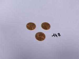3 Pièces de 20 Frs suisse en or, L1935B. PB 19,3g