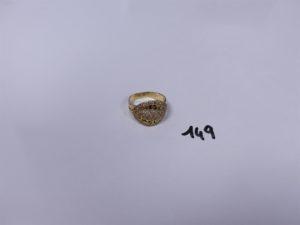 1 Bague en or ornée de pierres (soudure en 14K, Td57). PB 4,6g