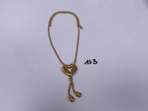 1 Collier maille colonne en or motif central en forme de coeur (L42cm). PB 10,7g
