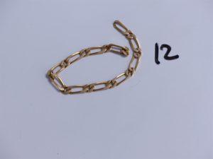 1 Bracelet en or maille alternée (manque fermoir, L17cm). PB 12,1g