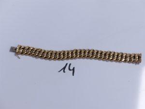 1 Bracelet en or maille américaine, un peu cabossé (L21cm). PB 34,9g