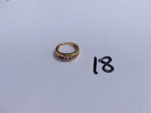 1 Bague en or ornée de 5 pierres de couleur (Td54). PB 5g