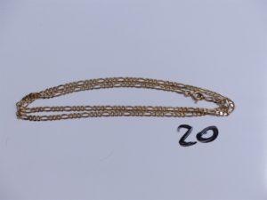 1 Chaîne en or maille alternée (L50cm). PB 9g