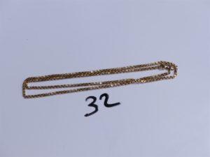 1 Chaîne en or maille carrée (L45cm). PB 9,9g