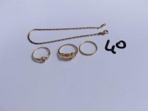 2 Bagues en or (1 à décor de 2 coeurs, Td54)(1 ornée d'une pierre rose, Td51); 1 alliance en or, intérieur gravé (Td51) et 1 bracelet en or maille haricôt (L19cm). PB 6,4g