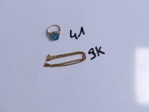 1 Bague en alliage 14K ornée d'une grosse pierre bleue (Td50) et 1 bracelet de cheville en alliage 9K (L24cm). PB 5,7g