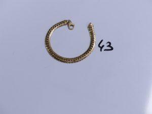 1 Bracelet en or maille anglaise (L19cm). PB 14,4g
