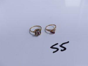 2 Bagues en or (1 bicolore réhaussée de 3 petites pierres rouges, Td49)(1 ornée de pierres rouges et petits diamants, Td53). PB 4,4g
