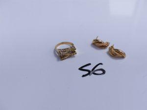 1 Bague en or ornée de petites pierres blanches (Td54) et 2 boucles en alliage 9K tréssées. PB 4g