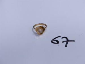 1 Bague en or à décor floral ornée de pierres (Td55). PB 3,6g