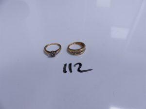 2 Bagues en or (1 à décor floral ornée de petits diamants, Td51)(1 ornée d'un rang de petits diamants, Td52). PB 5,8g
