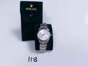 1 Montre homme de marque ROLEX boitier et bracelet acier, modèle oyster perpetual cadran argenté. PB 82,3g