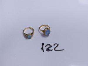 2 Bagues en or (1 à décor floral ornée d'une grosse pierre bleue ciel, monture à redresser, Td52 environ)(1 ornée d'une pierre bleue ciel et petites pierres, monture à redresser). PB 8,7g
