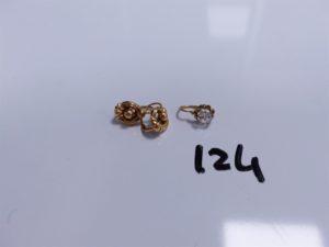 3 Pendants en or (2 ouvragés)(1 réhaussé d'une pierre). PB 1,9g