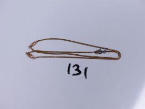 1 Giletière en or maille serpentine (abimée, L 44cm). PB 4,1g