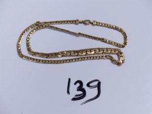 1 Collier en or maille haricot (abimé, L 42cm). PB 8,6g