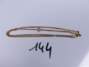 1 Chaîne en or maille forçat (L 50cm). PB 9g